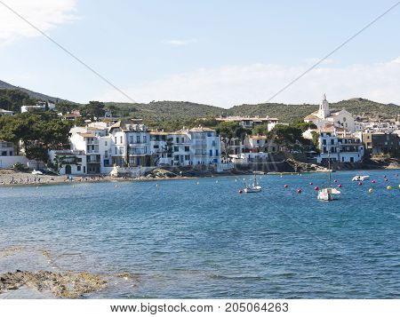 View Of A Typical Whitewashed Village. Spanish Mediterranean. Catalonia, Spain