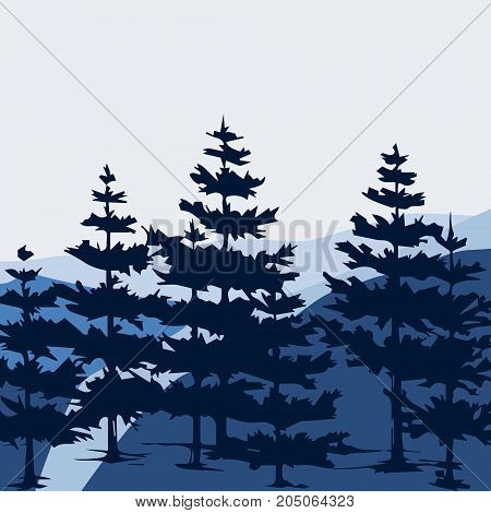 Pine forest and mountains vector backgrounds. Panorama taiga silhouette illustration