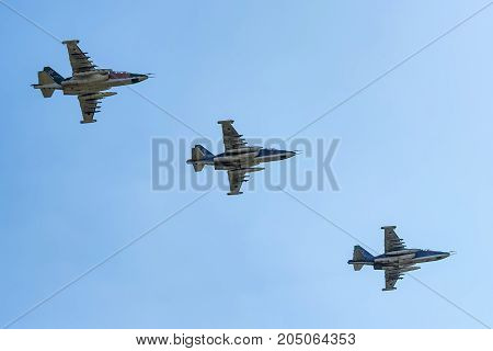 ROSTOV-ON-DON, RUSSIA - AUGUST, 2017: The Sukhoi Su-25 Grach or Frogfoot is a single-seat, twin-engine jet aircraft developed in the Soviet Union by Sukhoi