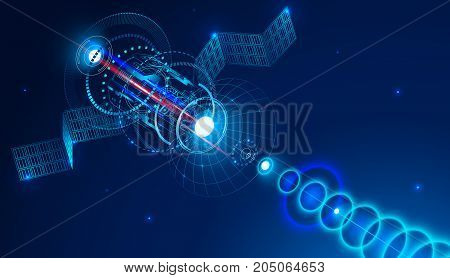 Geostationary telecommunications satellite from space sends a digital signal via satellite dish. Conceptual abstract background. VECTOR.