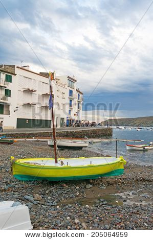 CADAQUES, SPAIN - JUNE 28, 2017: Panoramic view of the Spanish town of Cadaques,the famous small village of Costa Brava, Catalonia - Spain
