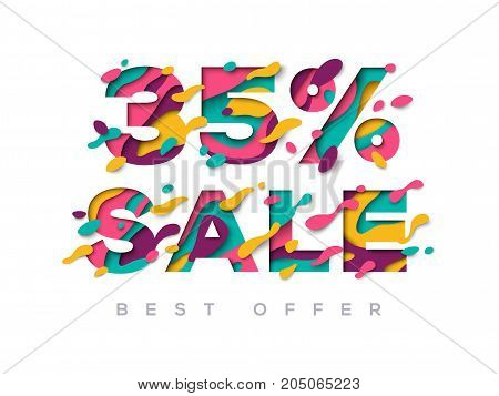 Paper cut sale 35 percent off. 35 discount 3d sign isolated on white background. Vector illustration. Sale symbol, special offer label, sticker tag, banner, advertising badge