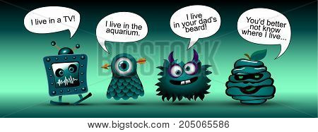 funny cartoon monsters with bubble. vector set