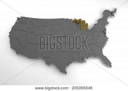 United States of America, 3d metallic map, with Michigan state highlighted. 3d render