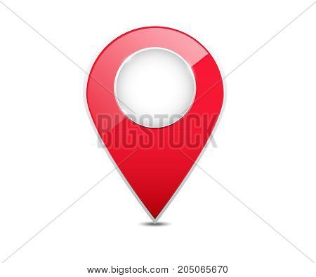 3d red map location pointer. Red map pointer with blank center isolated on white background