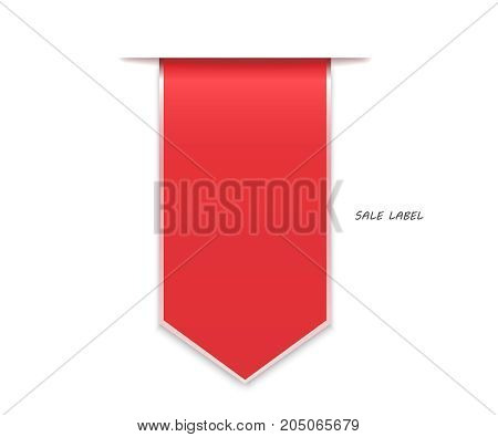 Sale label red with arrow. Red discount labels bent