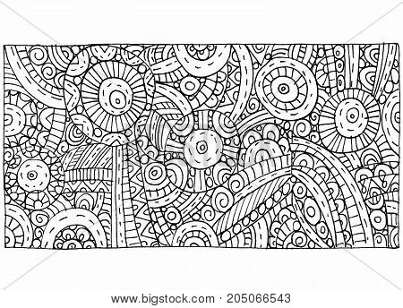 Black and white graphics with abstract hand-drawn outline pattern