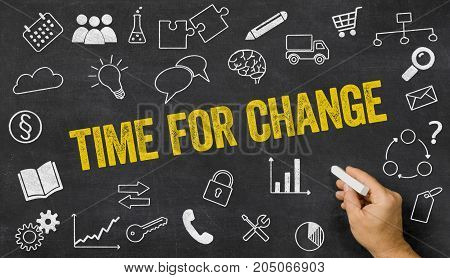 Time For Change Written On A Blackboard With Icons