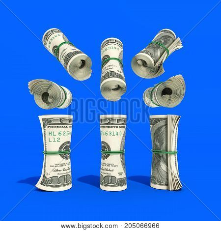 Money Hundred Dollars Bill Rol Colection 3D Render On Blue