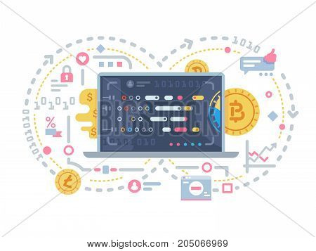 Crypto currency and block chain. Electronic operations with bitcoin. Vector illustration