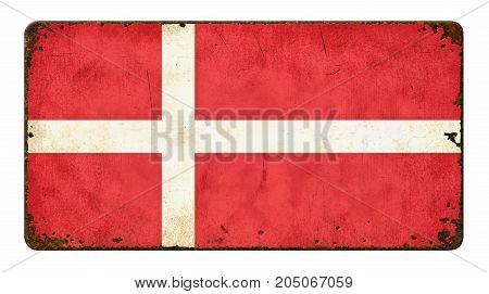 Vintage Metal Sign On A White Background - Flag Of Denmark