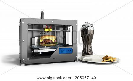 3D Printer Print Burger On A White Background 3D Rendering On White