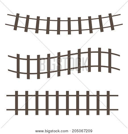 Vector Railroad And Railway Tracks Construction Elements.