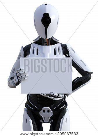 3D rendering of a female android robot holding a blank sign in its hand. White background.