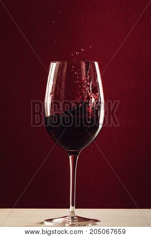 Splash Of Wine In Wineglass