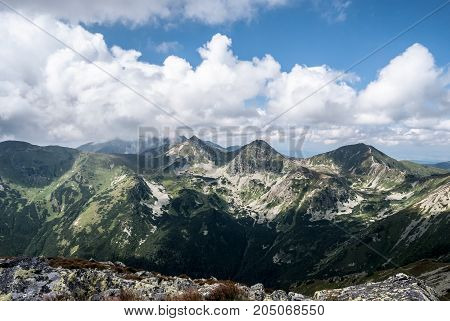 Rohace mountain group with Volovec Ostry Rohac and Placlive peak from Jakubina peak on Otrhance mountain ridge in Western Tatras mountains in Slovakia