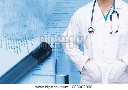 smart doctor with a stethoscope with double exposure of test tube beaker and medical information form on desk medical research diagnosis blood test and medical report record concept blue tone