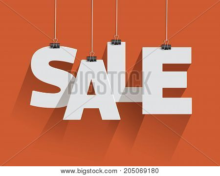 Sale text. Vector paper letters with paperclips.