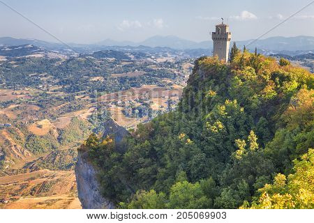 Fortress of Guaita in Republic of San Marino on the mountain