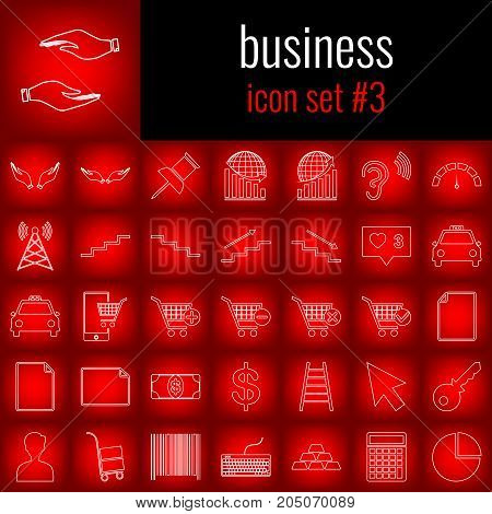 Business. Icon set 3. White line icon on red gradient backgrpund.