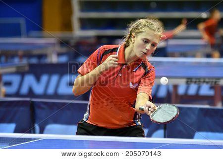 Orenburg, Russia - September 15, 2017 Year: Girl Playing Ping Pong