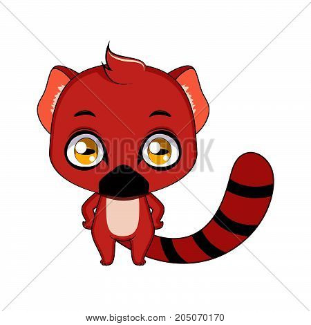 Cute Stylized Cartoon Vontsira ( Ring Tailed Mongoose ) Illustration ( For Fun Educational Purposes,