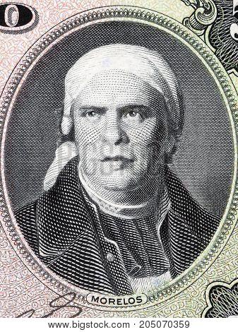 Jose Maria Morelos portrait from Mexican money