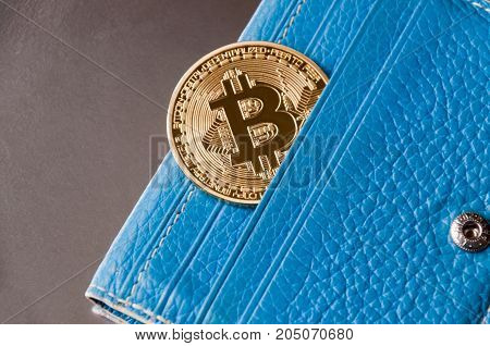 Bue leather wallet on a dark background with one gold and coin of bitcoin falling out of their pockets. The concept of crypto currencies.