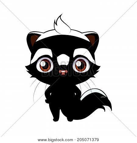 Cute Stylized Cartoon Striped Polecat ( Zorilla ) Illustration ( For Fun Educational Purposes, Illus