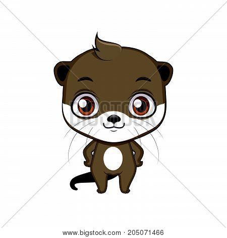 Cute Stylized Cartoon Otter Illustration ( For Fun Educational Purposes, Illustrations Etc. )