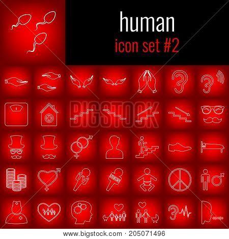 Human. Icon set 2. White line icon on red gradient backgrpund.