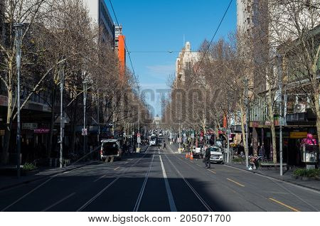Melbourne Australia - July 29 2017: view down Russell Street in central Melbourne. Russell Street is a major city street in central Melbourne.