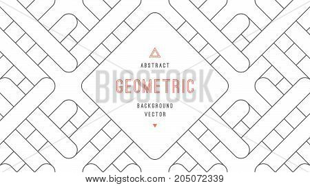Vector abstract background of geometric shapes. Rounded squares, lines and rectangles.