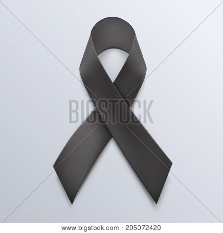 Black awareness ribbon on white background. Mourning and melanoma symbol.