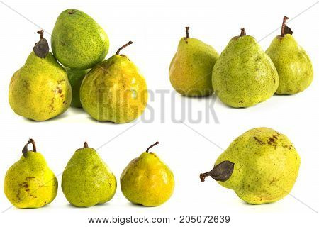 pear on a white background. juicy bright green and yellow pears on isolated background. isolate