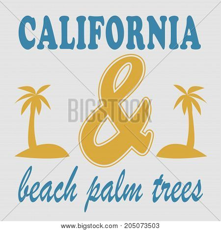 Los angeles beach palm trees typography, t-shirt graphics. Vector illustration