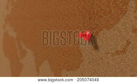 simple cork pinboard with pin on north korea, 3d illustration.