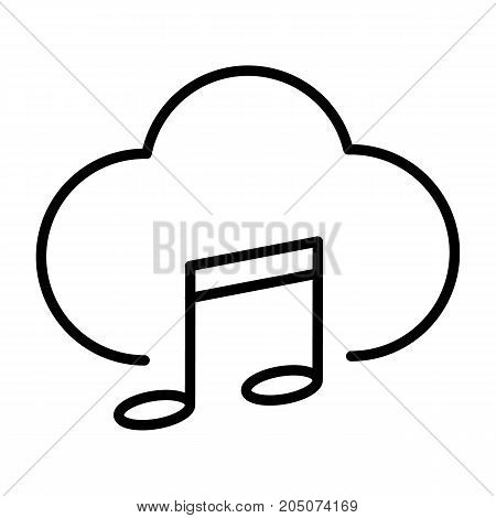 Music cloud thin line icon. 96x96 for Web Graphics and Apps.  Simple Minimal Pictogram. Vector