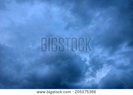 Bad weather and dramatic dark stormy clouds just before the rain storm