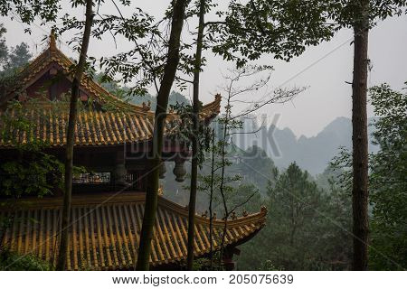 Roofs of houses in Chinese style. View of the old roofs of houses covered with tiles against the background of the forest and mountains. Leshan Shi, China, Asia