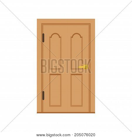 Classic wooden entrance door, closed elegant door vector illustration isolated on a white background