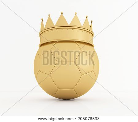 Soccer ball with golden royal crown is a symbol of competition and winner's trophy on white. 3D rendering