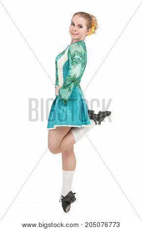 Beautiful Woman In Blue Dress For Irish Dance Jumping Isolated