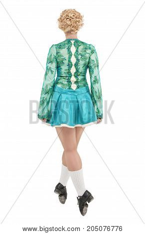 Beautiful Woman In Dress For Irish Dance Back Pose Isolated