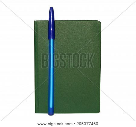 Notepad book and pen isolated on white background