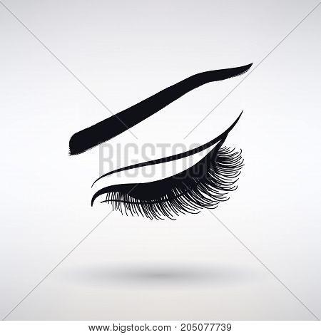 Icon female long lash on a light background