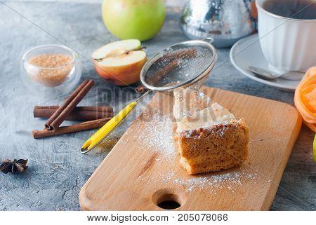 Apple Pie,  Tea And Apple On A  Table