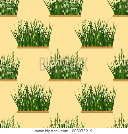 Seamless Background with Fresh Green Grass and Lilac Flowers, Tile Pattern for Your Design. Vector