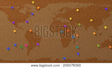 random colored pins on simple cork pinboard with world map, 3d illustration.