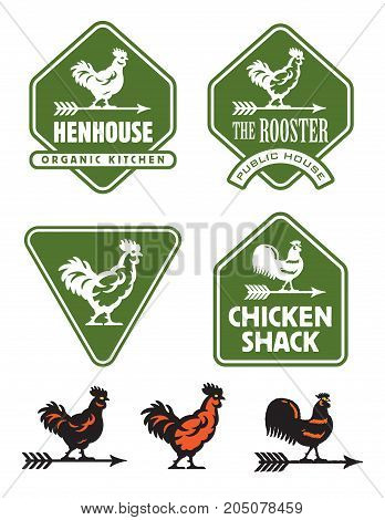 Chicken, hen or rooster logos and badges Set of seven rustic vector illustrations and emblems featuring assorted chicken and weather vane designs